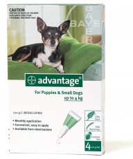 ADVANTAGE DOG up to 4kg GREEN 4pk Claws n Paws Pet Supplies