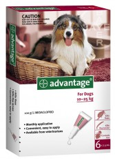 ADVANTAGE DOG 10 - 25kg RED 6pk Claws n Paws Pet Supplies