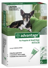 ADVANTAGE DOG up to 4kg GREEN 6pk Claws n Paws Pet Supplies