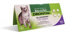 DRONTAL CAT WORMER REFILL 4 TABS Claws n Paws Pet Supplies