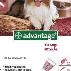 ADVANTAGE DOG 10 - 25kg RED 4pk Claws n Paws Pet Supplies