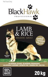 BlackHawk Lamb and Rice 20kg Claws n Paws Pet Supplies
