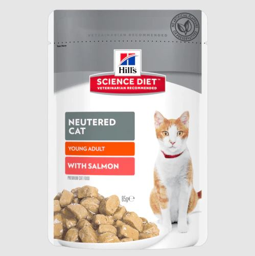 Hills Science Diet Neutered Cat Youg Adult with Salmon Pouch